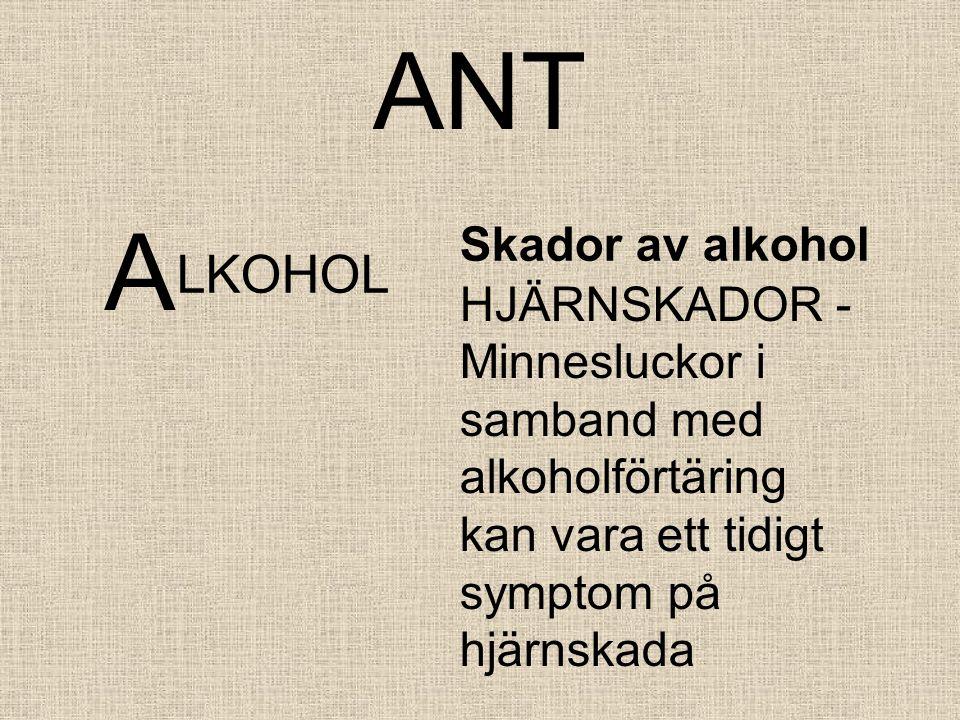 ANT A LKOHOL Skador av alkohol