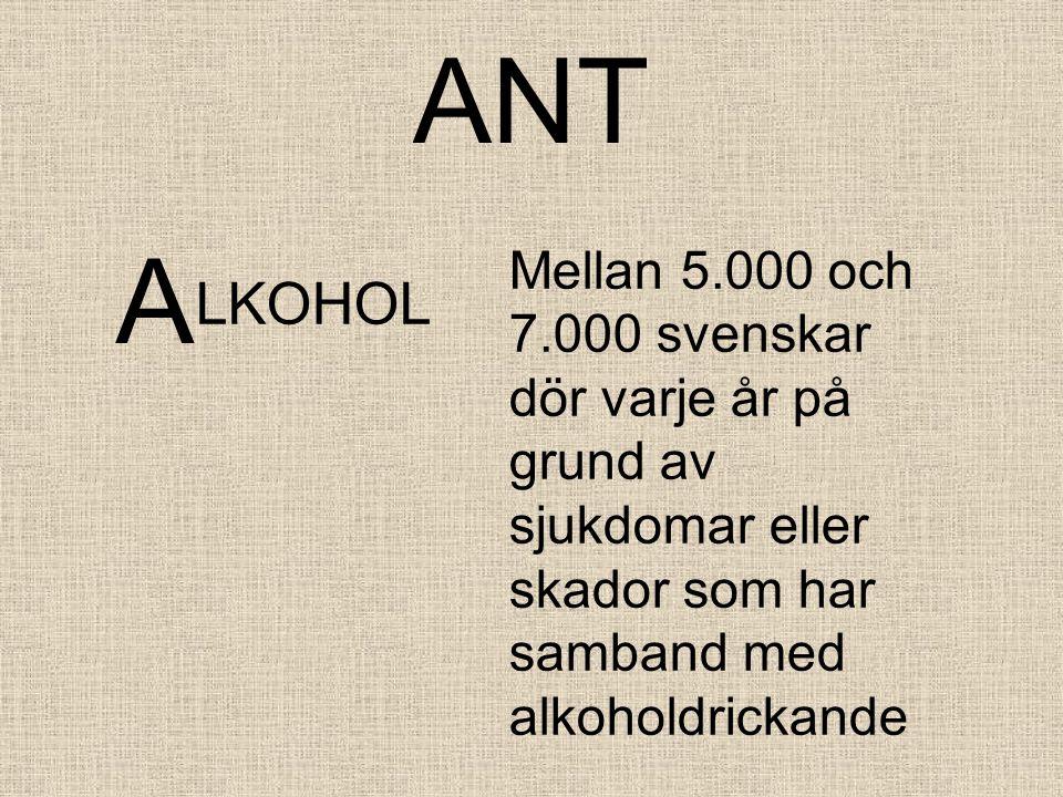 ANT A. Mellan 5.000 och 7.000 svenskar dör varje år på grund av sjukdomar eller skador som har samband med alkoholdrickande.