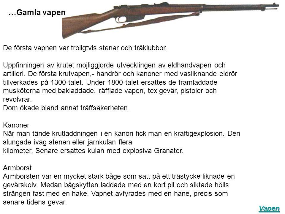 …Gamla vapen De första vapnen var troligtvis stenar och träklubbor.