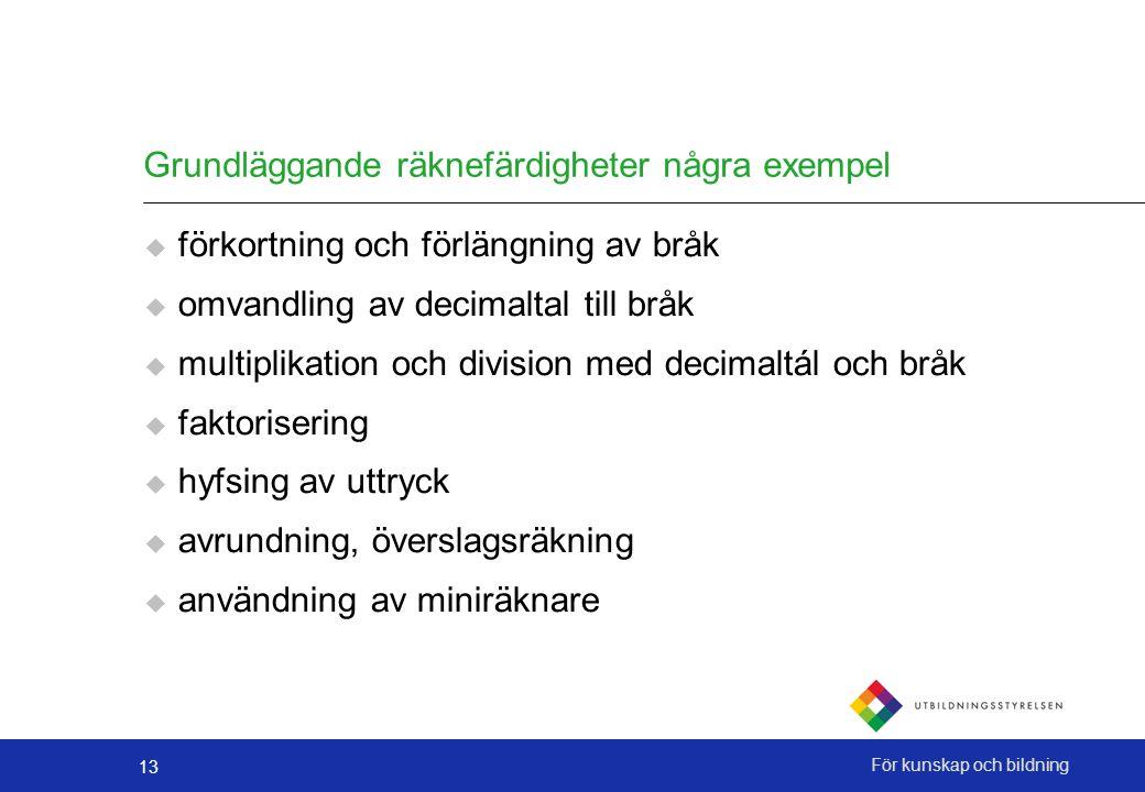 Grundläggande räknefärdigheter några exempel