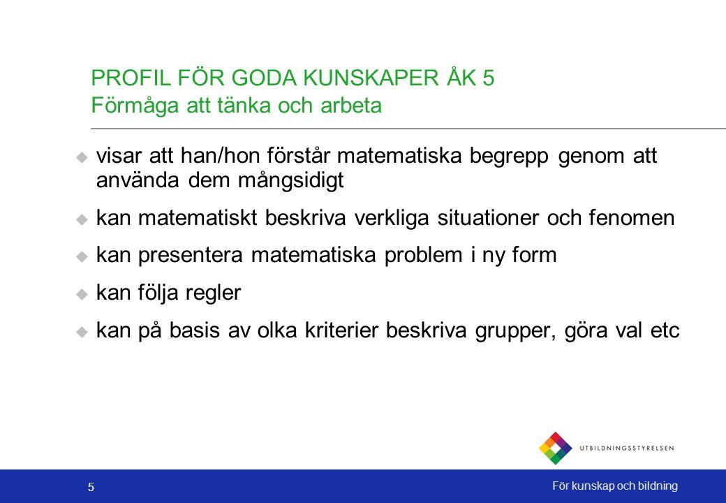 PROFIL FÖR GODA KUNSKAPER ÅK 5 Förmåga att tänka och arbeta