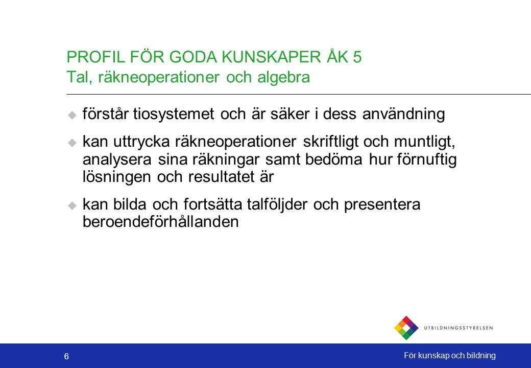 PROFIL FÖR GODA KUNSKAPER ÅK 5 Tal, räkneoperationer och algebra