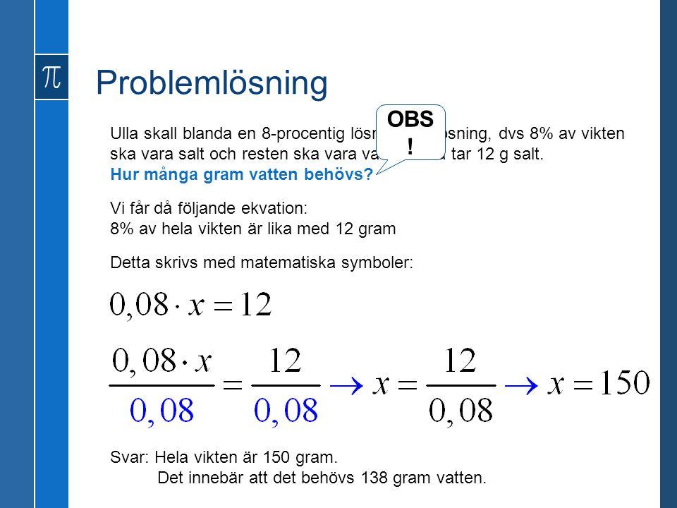 Problemlösning OBS!