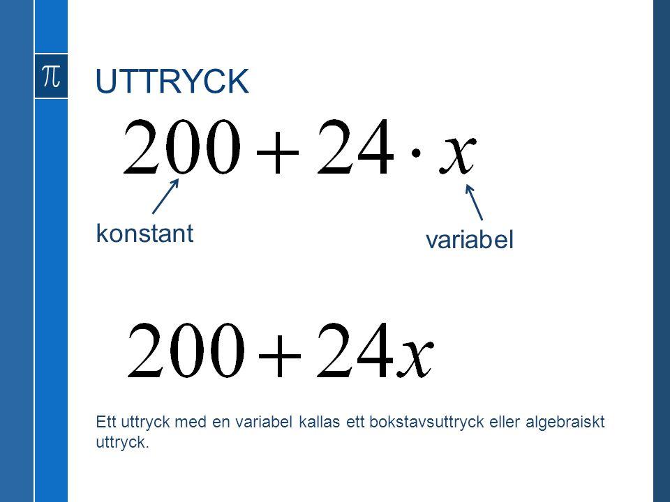 UTTRYCK konstant variabel