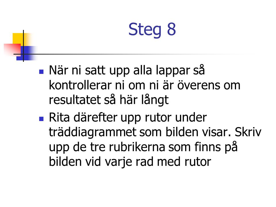 Steg 8 När ni satt upp alla lappar så kontrollerar ni om ni är överens om resultatet så här långt.