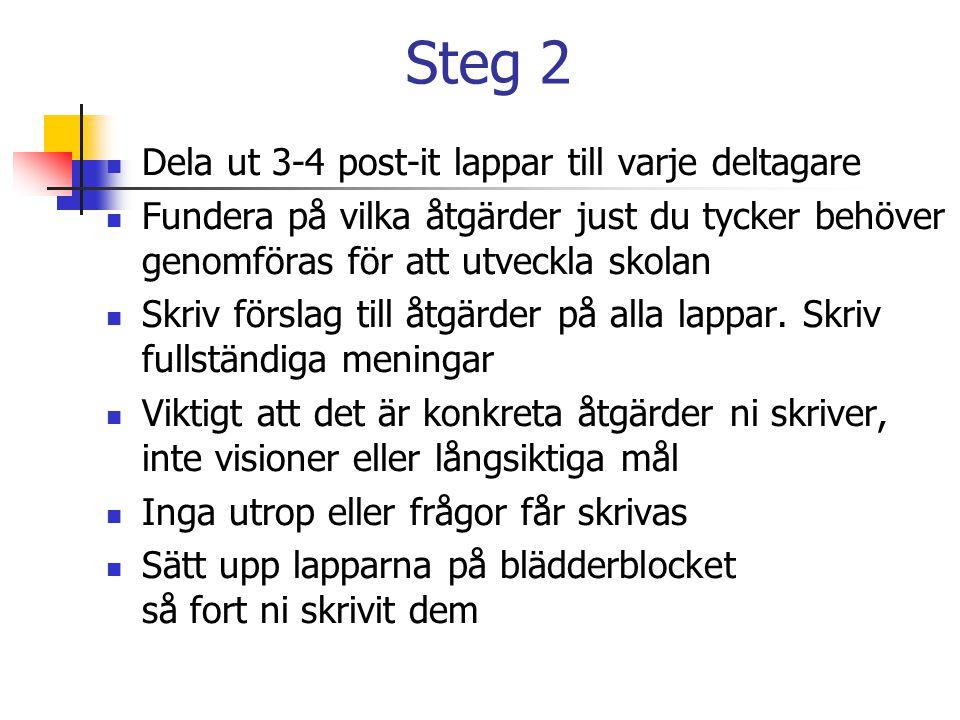 Steg 2 Dela ut 3-4 post-it lappar till varje deltagare