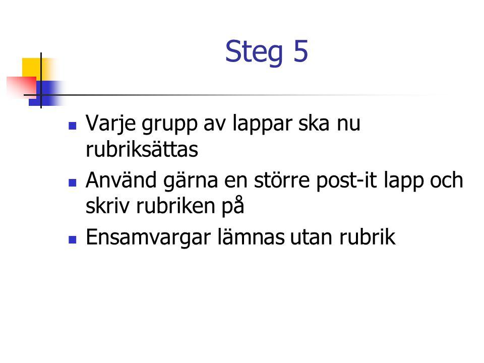 Steg 5 Varje grupp av lappar ska nu rubriksättas