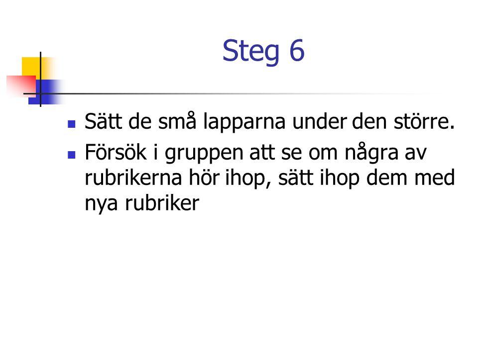 Steg 6 Sätt de små lapparna under den större.