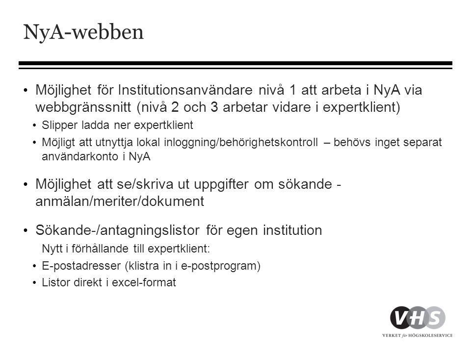 NyA-webben Möjlighet för Institutionsanvändare nivå 1 att arbeta i NyA via webbgränssnitt (nivå 2 och 3 arbetar vidare i expertklient)