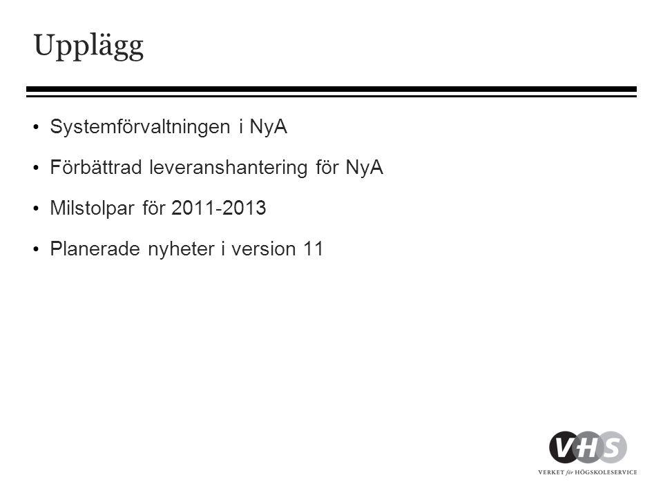 Upplägg Systemförvaltningen i NyA Förbättrad leveranshantering för NyA