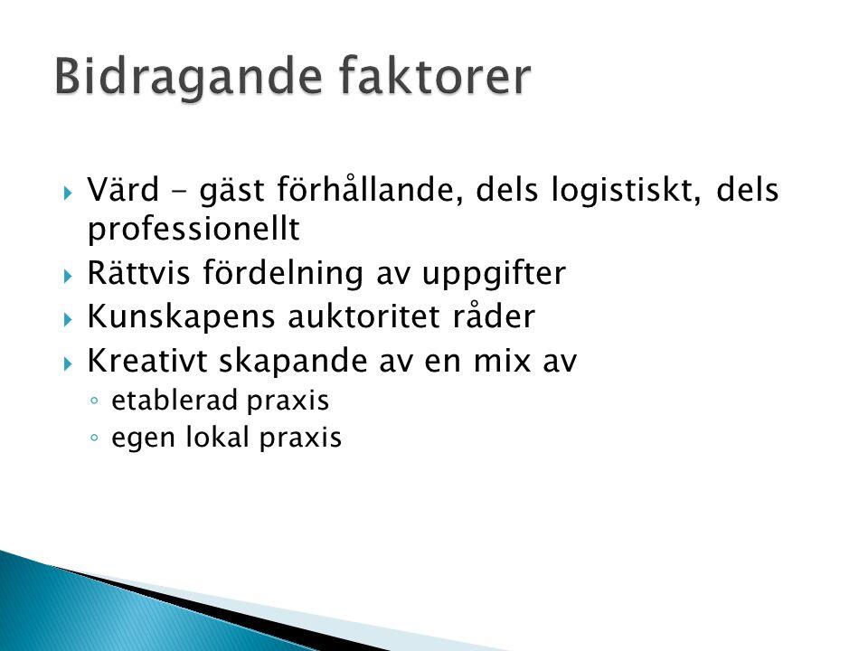 Bidragande faktorer Värd - gäst förhållande, dels logistiskt, dels professionellt. Rättvis fördelning av uppgifter.
