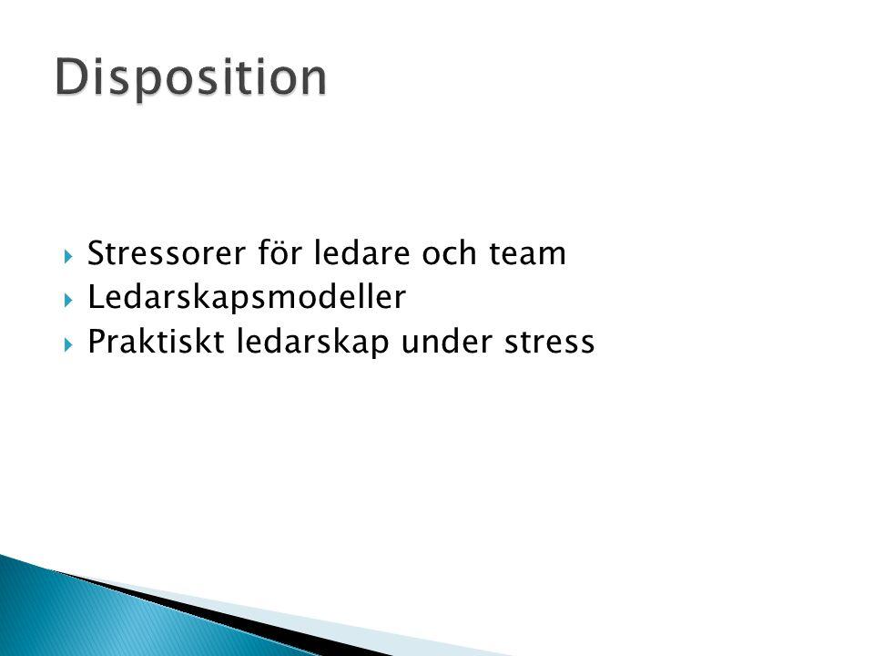 Disposition Stressorer för ledare och team Ledarskapsmodeller