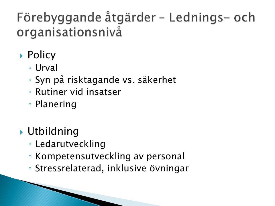 Förebyggande åtgärder – Lednings- och organisationsnivå