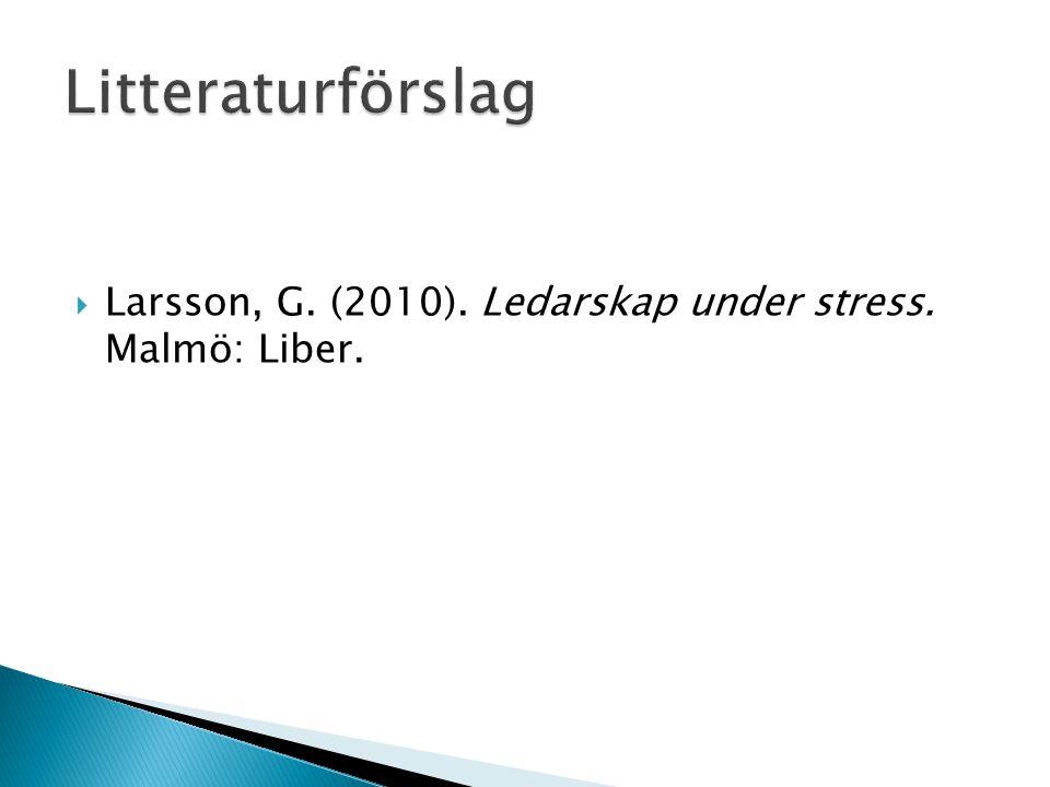 Litteraturförslag Larsson, G. (2010). Ledarskap under stress. Malmö: Liber.