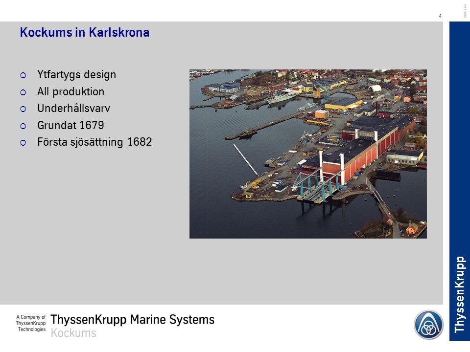 Kockums in Karlskrona Ytfartygs design All produktion Underhållsvarv