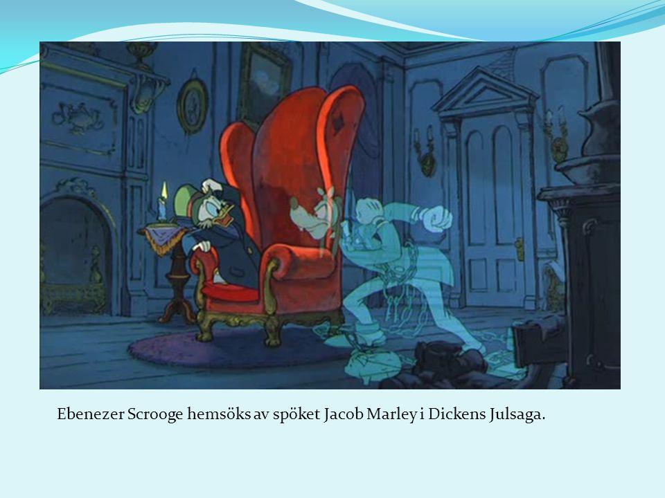 Ebenezer Scrooge hemsöks av spöket Jacob Marley i Dickens Julsaga.
