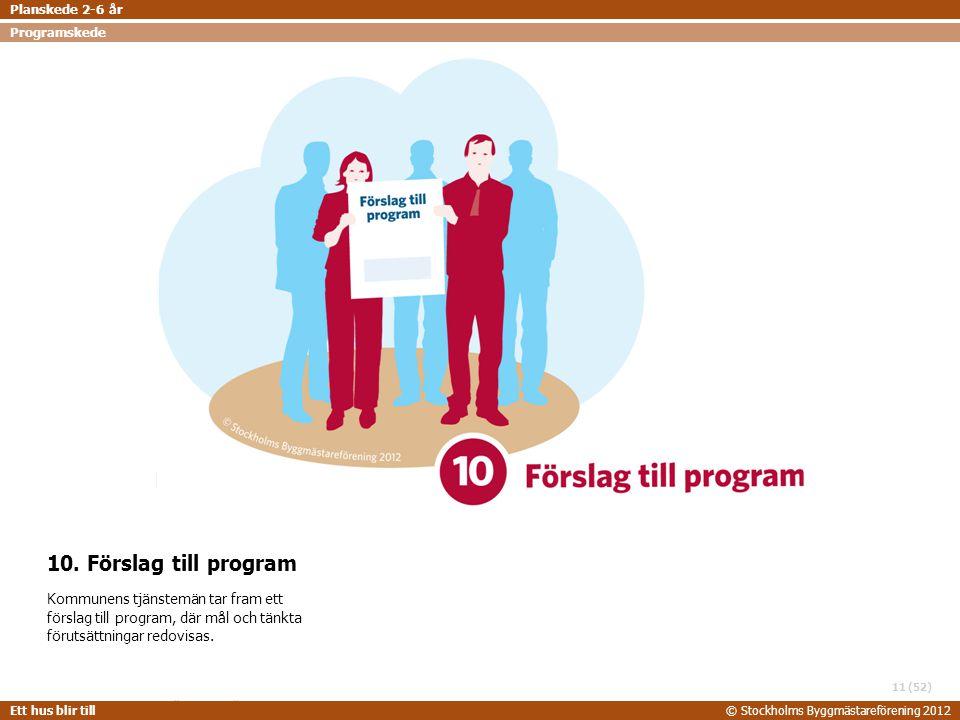 Planskede 2-6 år Programskede. 10. Förslag till program.