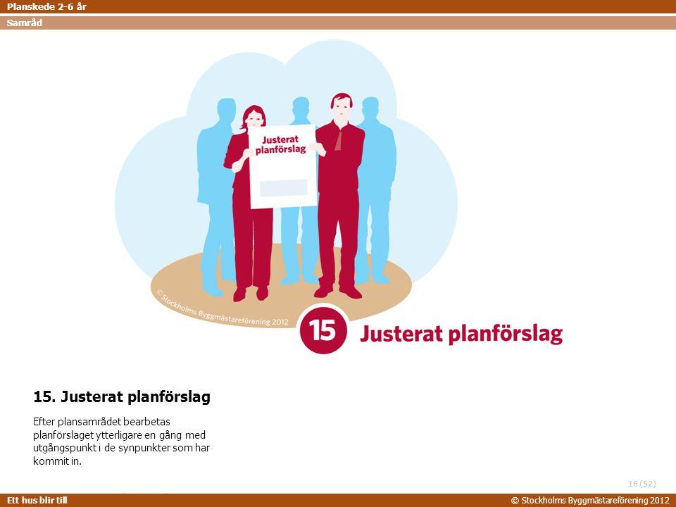 Planskede 2-6 år Samråd. 15. Justerat planförslag.