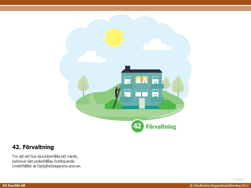 42. Förvaltning För att ett hus ska bibehålla sitt värde, behöver det underhållas fortlöpande.