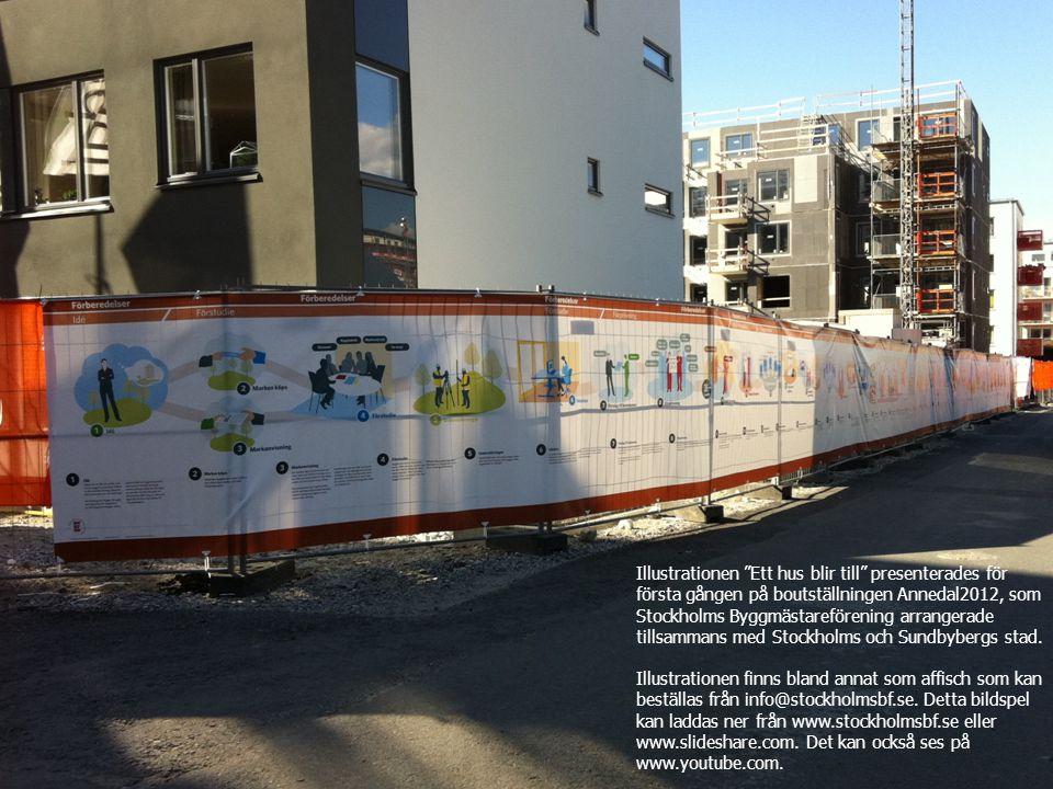 Illustrationen Ett hus blir till presenterades för första gången på boutställningen Annedal2012, som Stockholms Byggmästareförening arrangerade tillsammans med Stockholms och Sundbybergs stad.