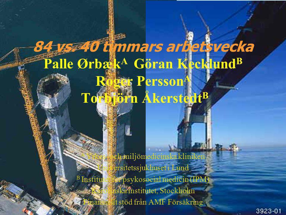 84 vs. 40 timmars arbetsvecka Palle ØrbækA Göran KecklundB Roger PerssonA Torbjörn ÅkerstedtB