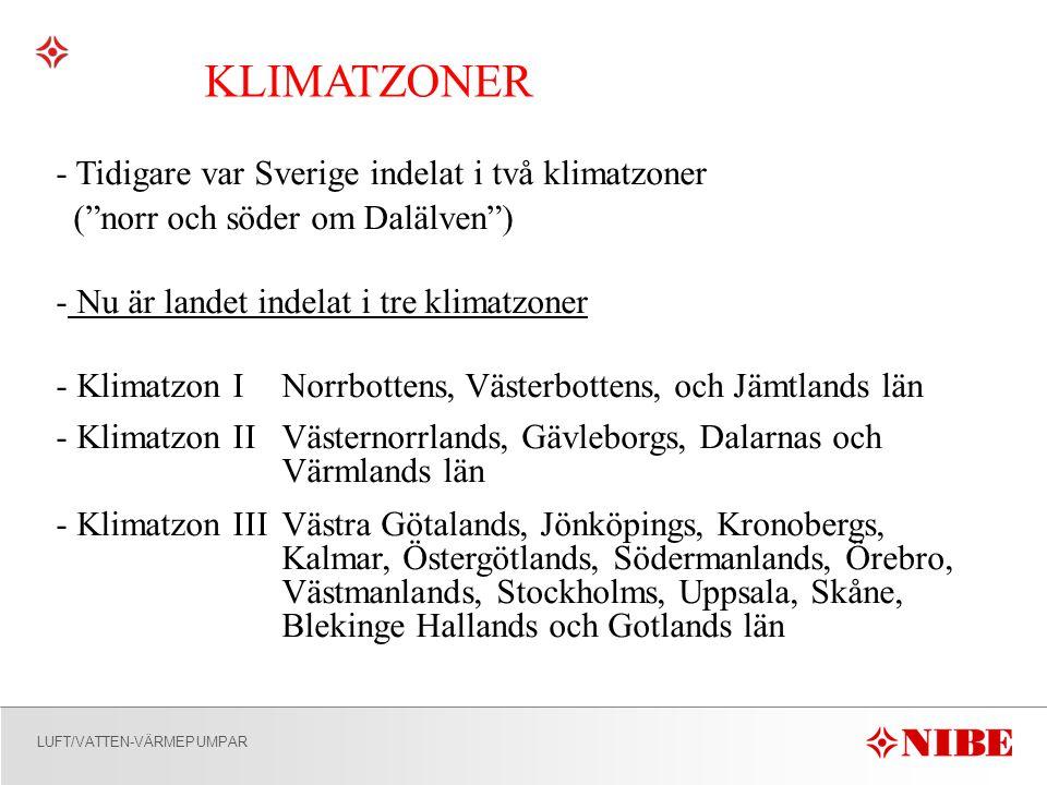 KLIMATZONER Tidigare var Sverige indelat i två klimatzoner