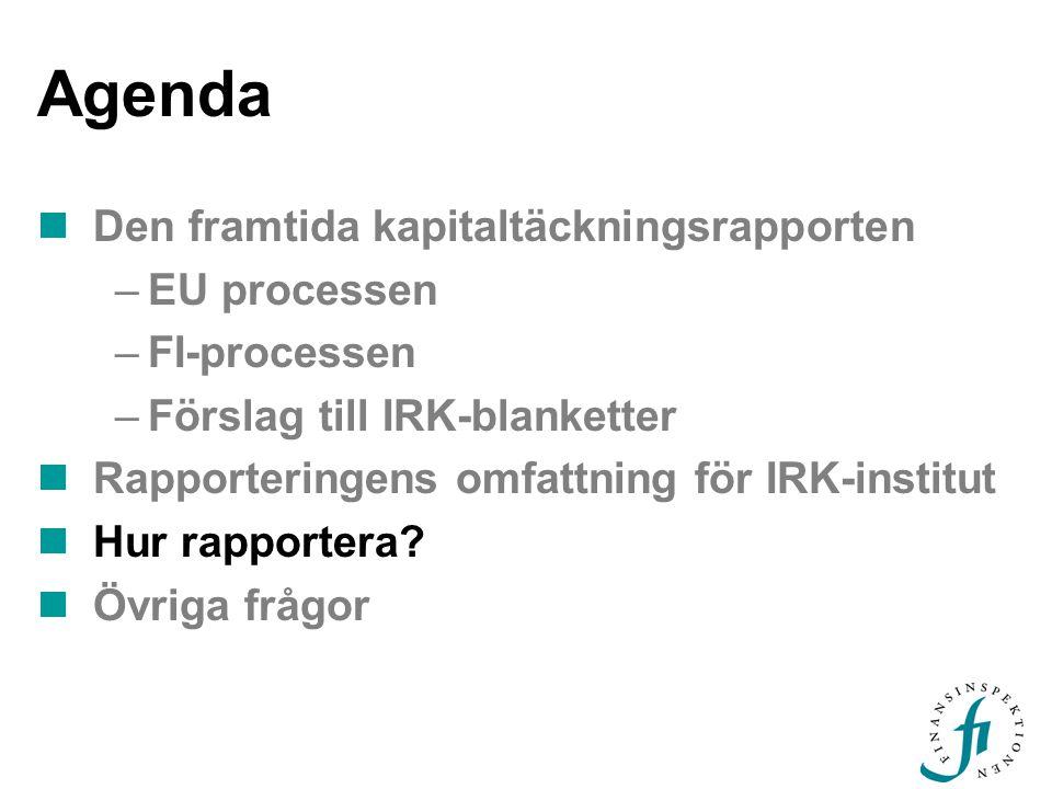 Agenda Den framtida kapitaltäckningsrapporten EU processen