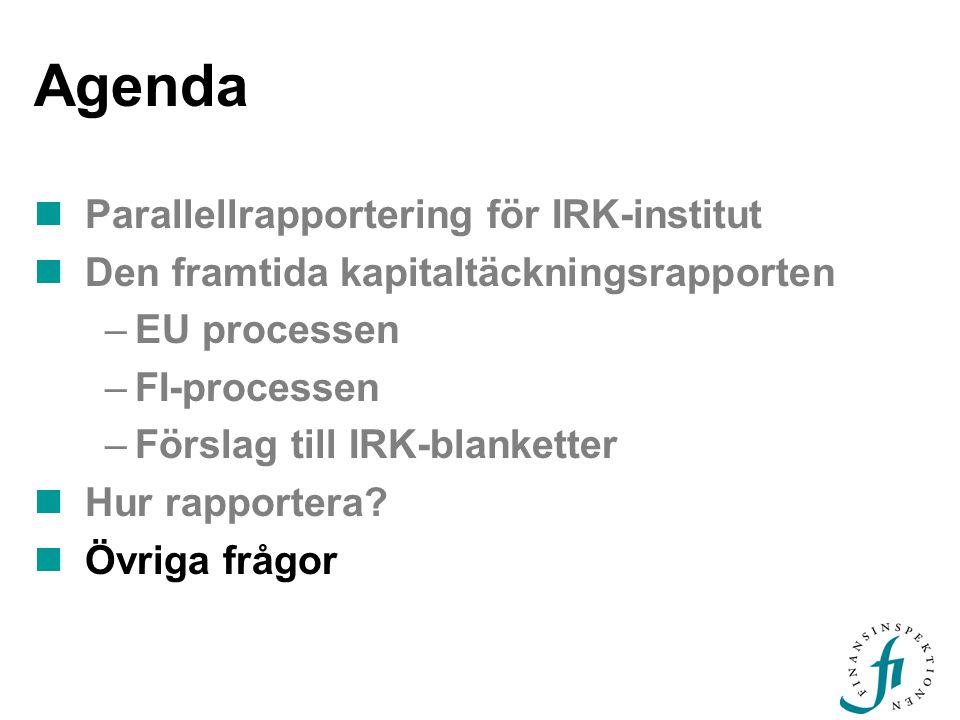 Agenda Parallellrapportering för IRK-institut