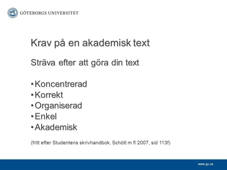 Krav på en akademisk text
