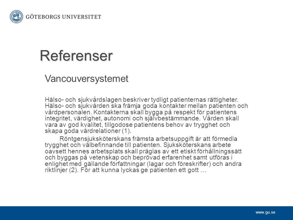 Referenser Vancouversystemet