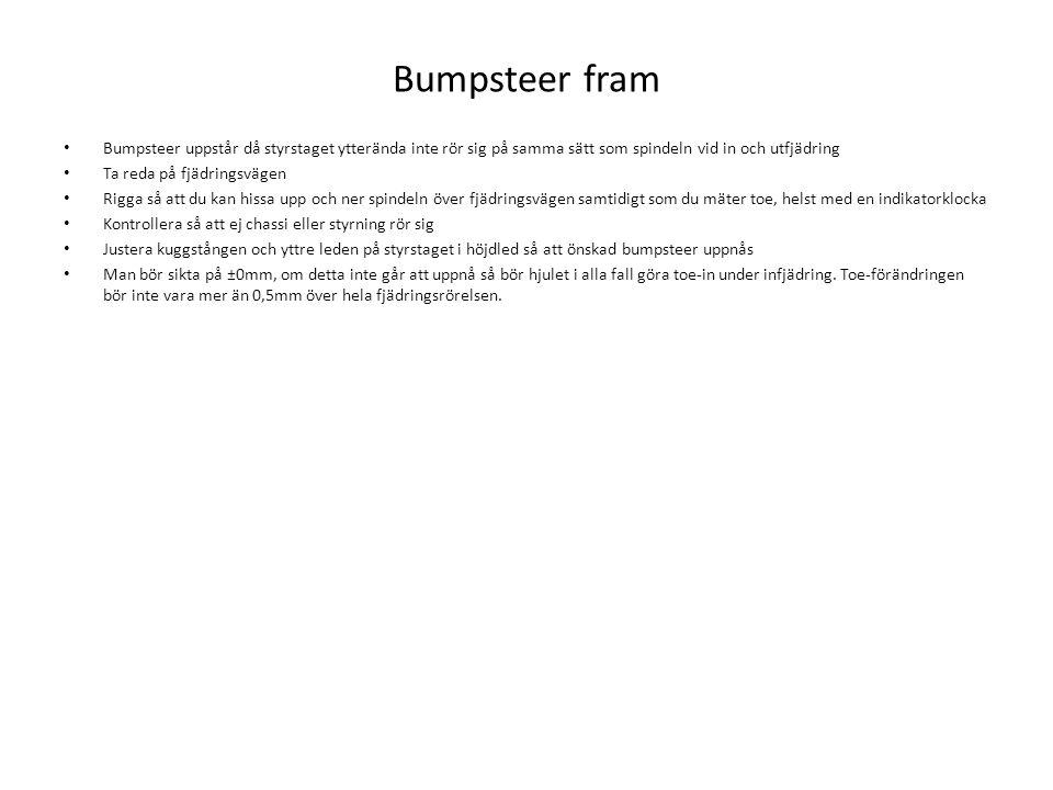 Bumpsteer fram Bumpsteer uppstår då styrstaget ytterända inte rör sig på samma sätt som spindeln vid in och utfjädring.