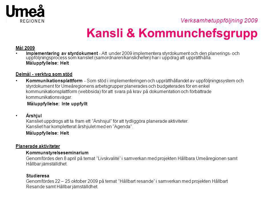 Verksamhetuppföljning 2009 Kansli & Kommunchefsgrupp