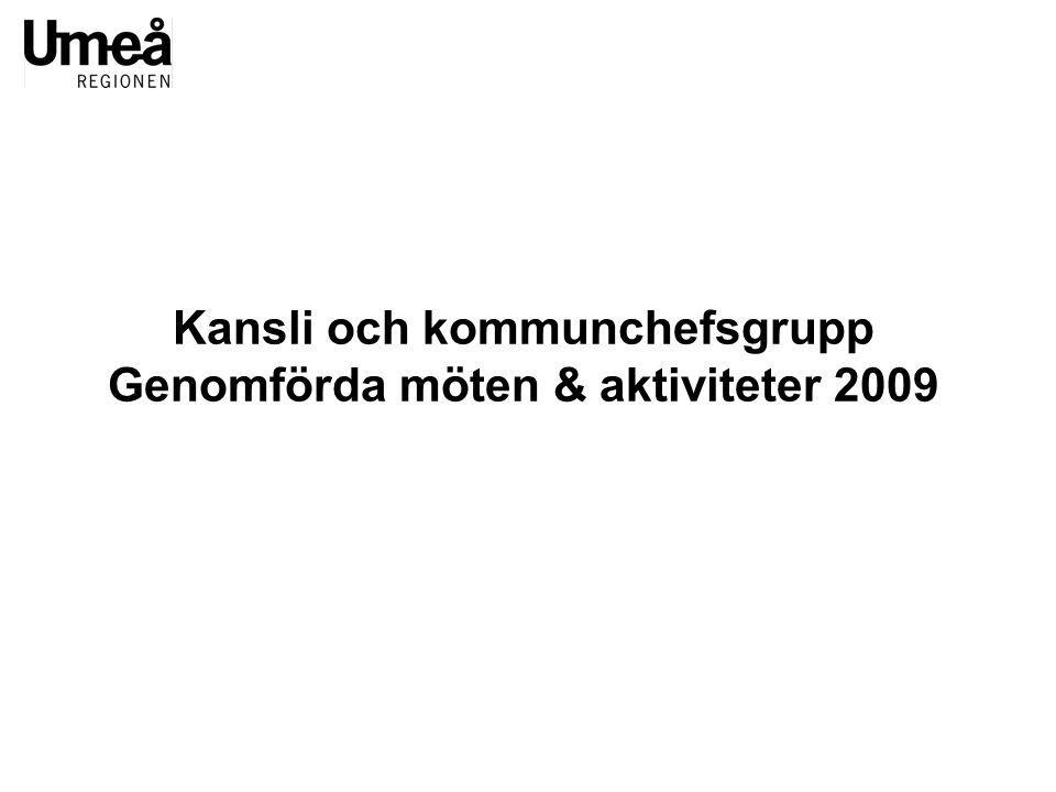Kansli och kommunchefsgrupp Genomförda möten & aktiviteter 2009