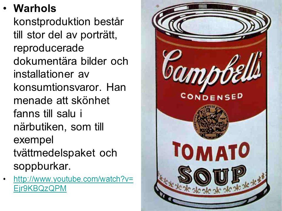 Warhols konstproduktion består till stor del av porträtt, reproducerade dokumentära bilder och installationer av konsumtionsvaror. Han menade att skönhet fanns till salu i närbutiken, som till exempel tvättmedelspaket och soppburkar.