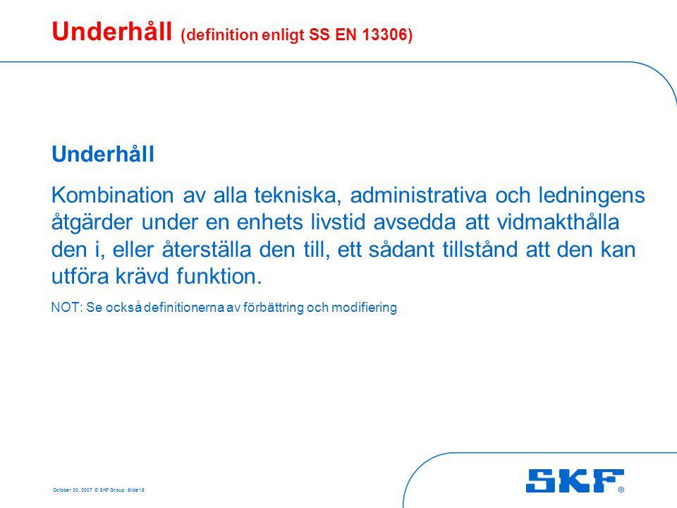 Underhåll (definition enligt SS EN 13306)