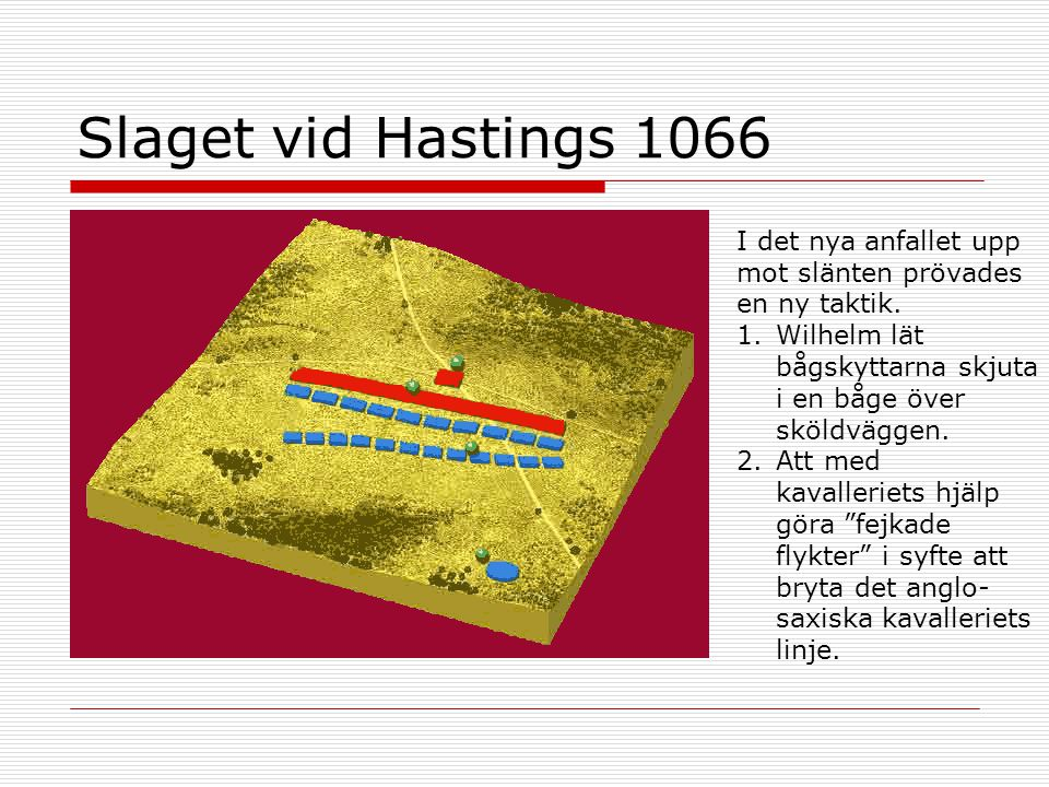 Slaget vid Hastings 1066 I det nya anfallet upp mot slänten prövades en ny taktik. Wilhelm lät bågskyttarna skjuta i en båge över sköldväggen.