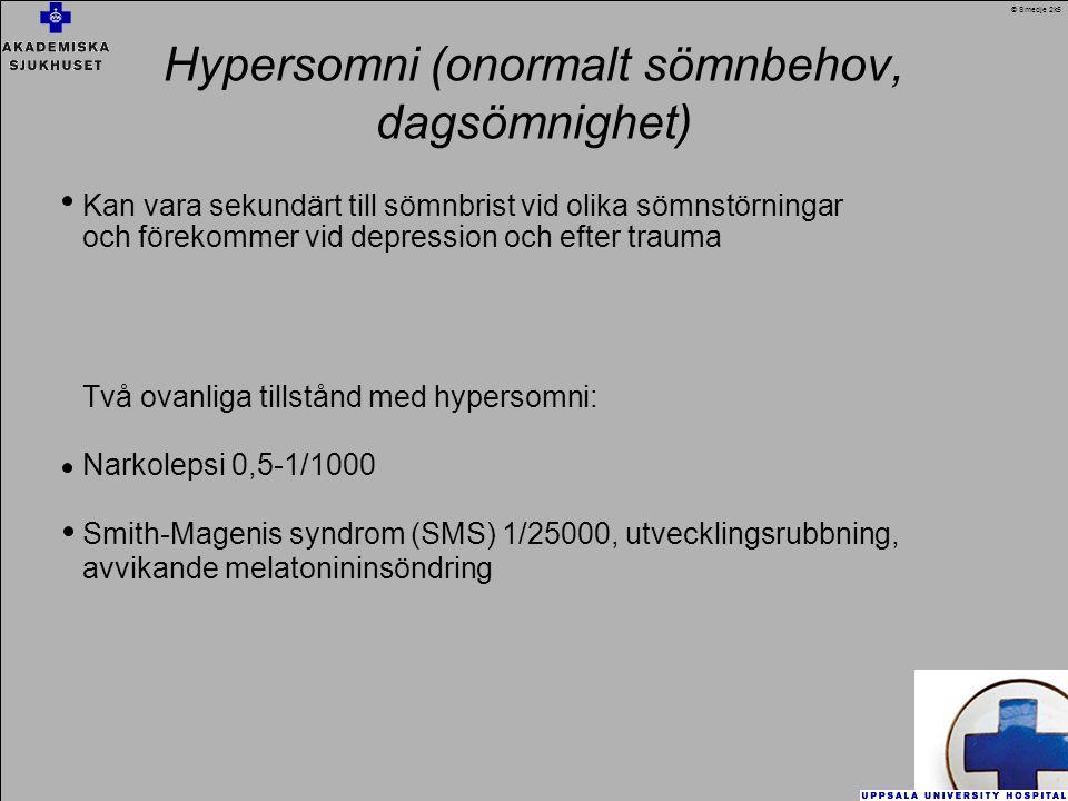 Hypersomni (onormalt sömnbehov, dagsömnighet)