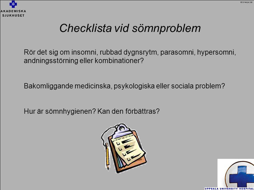 Checklista vid sömnproblem