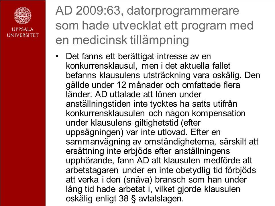 AD 2009:63, datorprogrammerare som hade utvecklat ett program med en medicinsk tillämpning