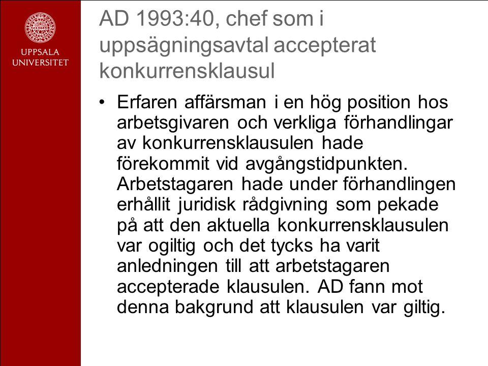 AD 1993:40, chef som i uppsägningsavtal accepterat konkurrensklausul