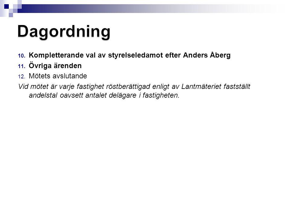 Dagordning Kompletterande val av styrelseledamot efter Anders Åberg