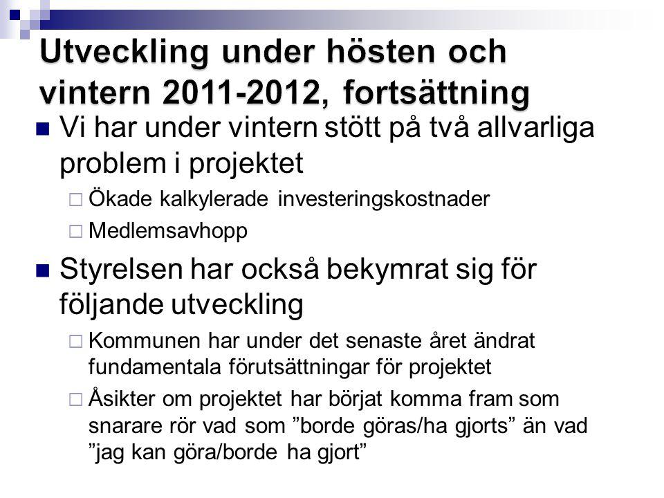 Utveckling under hösten och vintern 2011-2012, fortsättning