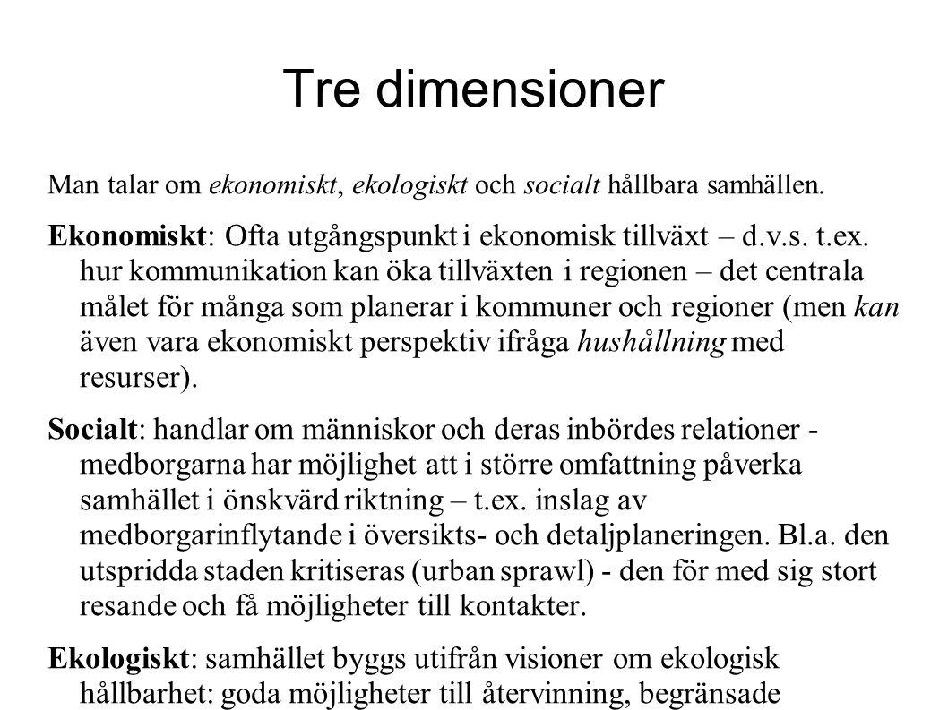 Tre dimensioner Man talar om ekonomiskt, ekologiskt och socialt hållbara samhällen.