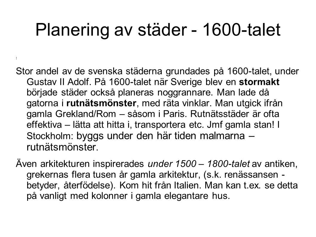 Planering av städer - 1600-talet