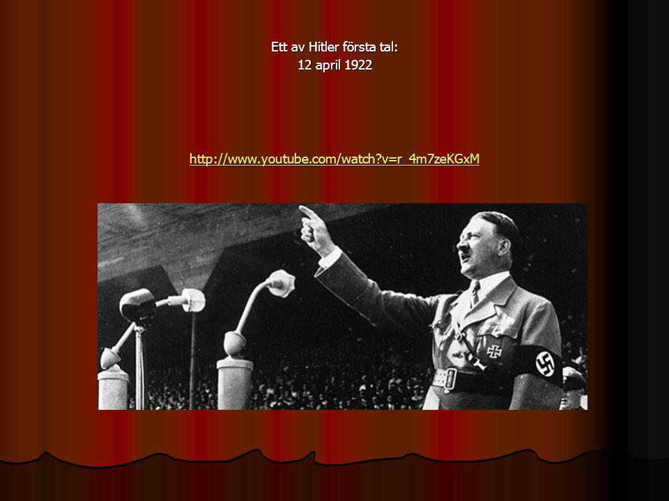 Ett av Hitler första tal: