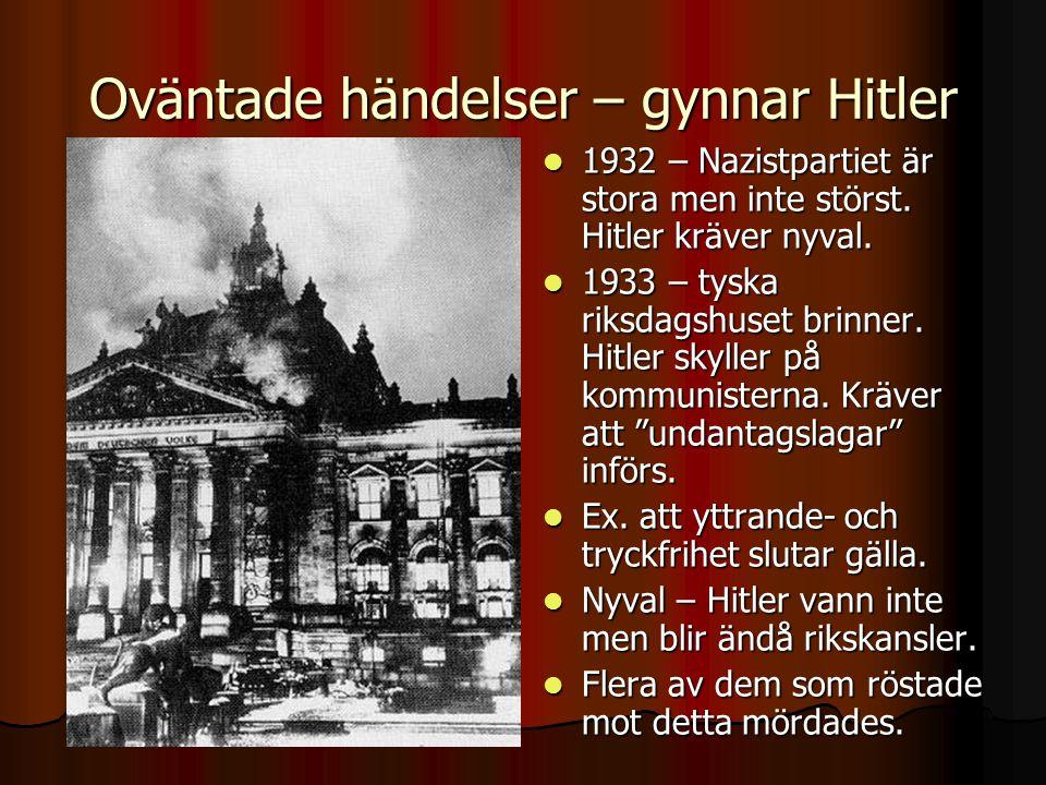 Oväntade händelser – gynnar Hitler
