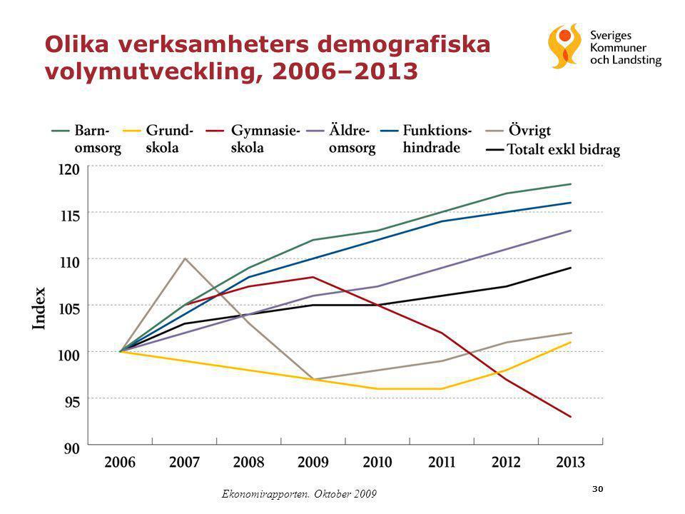 Olika verksamheters demografiska volymutveckling, 2006–2013