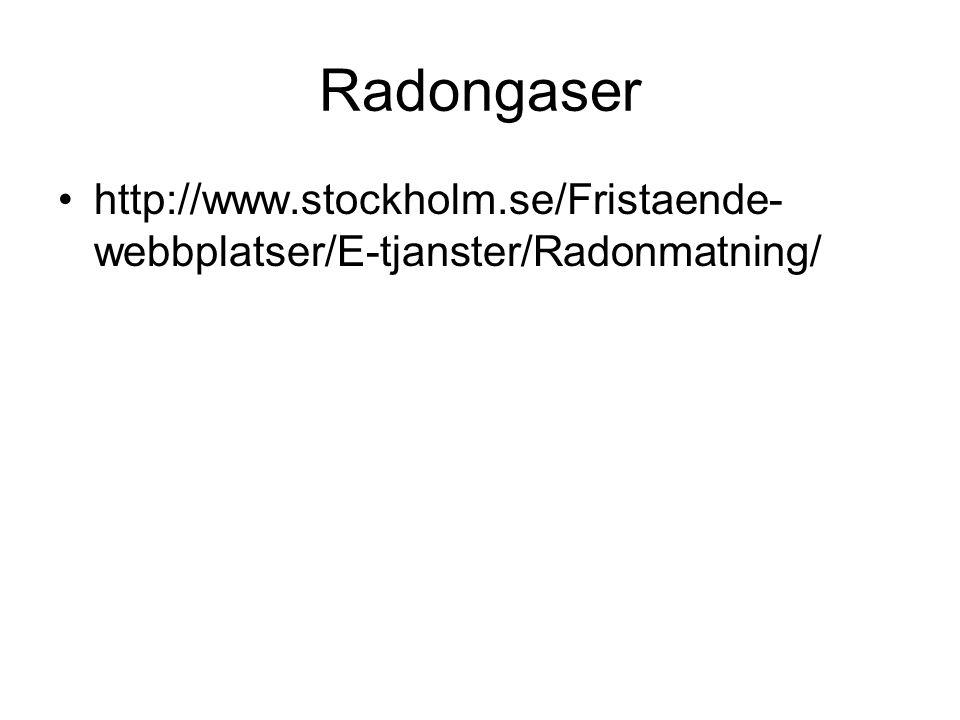 Radongaser http://www.stockholm.se/Fristaende-webbplatser/E-tjanster/Radonmatning/