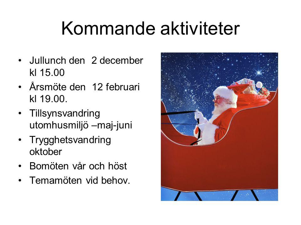 Kommande aktiviteter Jullunch den 2 december kl 15.00