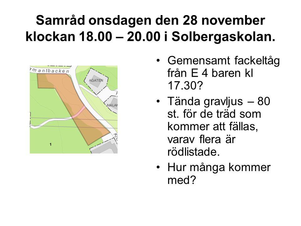 Samråd onsdagen den 28 november klockan 18. 00 – 20